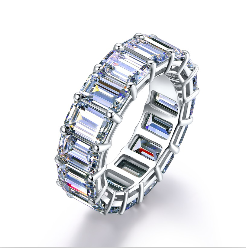 Anillo de diamante simulado con corte esmeralda, anillo de plata para mujer-in Anillos from Joyería y accesorios    1