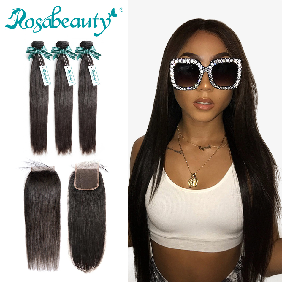 Rosa Beauty Straight Peruvian Virgin Hair Bundle Human Hair Extensions 3 Bundles with Closure Nature Color