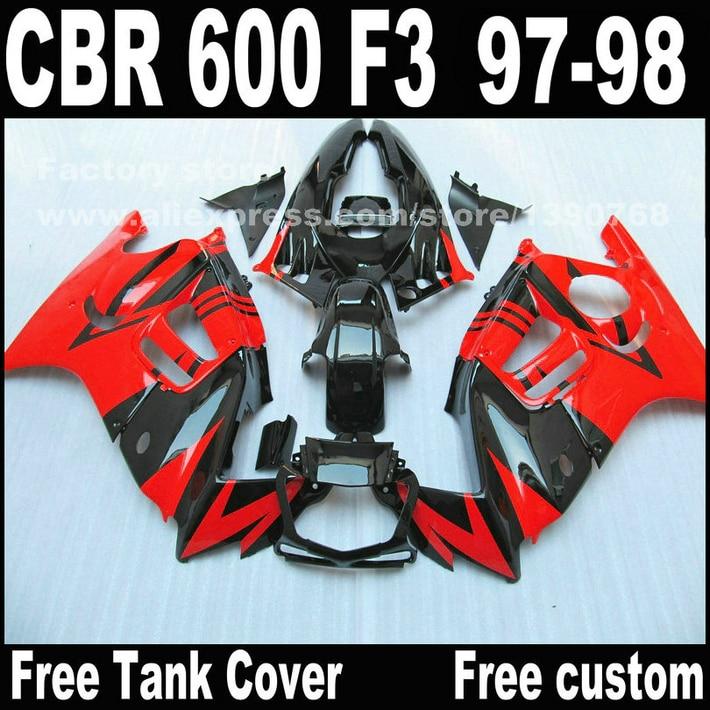 Пользовательские бесплатно мотоцикл части для Honda ЦБ РФ 600 F3 1997 1998 CBR600 обтекатели Ф3 97 98 черный красный кузовной ремонт зализа комплект W2