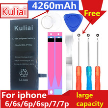 Batterie Kuliai originale haute capacité pour Apple iPhone 6 6 S 6 p 7 7 plus Batteries de remplacement capacité réelle Bateria outils gratuits