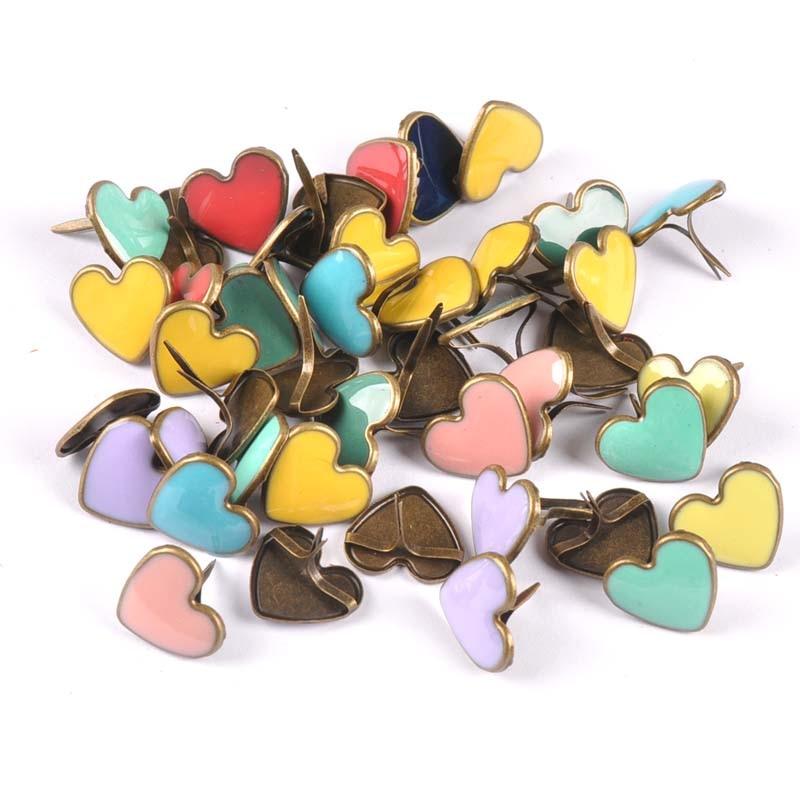 15PCs Mix Enamel Bronze Heart Diy Brads Scrapbooking Embellishment Fastener Brad Metal Crafts Decoration 16x14x14mm Cp2268
