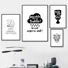 Cloud Toilet Umbrella Wall Art Canvas Painting Black White Nordic Posters And Prints Cartoon Kids Pictures For Living Room