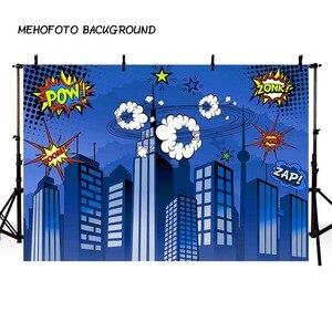 Image 1 - Mehofond 사진 배경 블루 슈퍼 히어로 생일 만화 빌딩 소년 어린이 포스터 배경 사진 스튜디오 Photocall