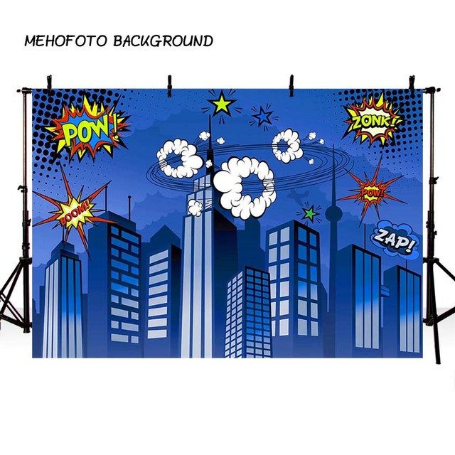 Mehofond 사진 배경 블루 슈퍼 히어로 생일 만화 빌딩 소년 어린이 포스터 배경 사진 스튜디오 Photocall