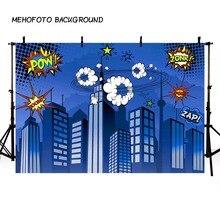 Mehofond Super Hero Fondali Fotografia Rosa Blu di Costruzione della Città Della Banda Del Bambino Di Compleanno Foto Foto di Sfondo In Studio Photophone
