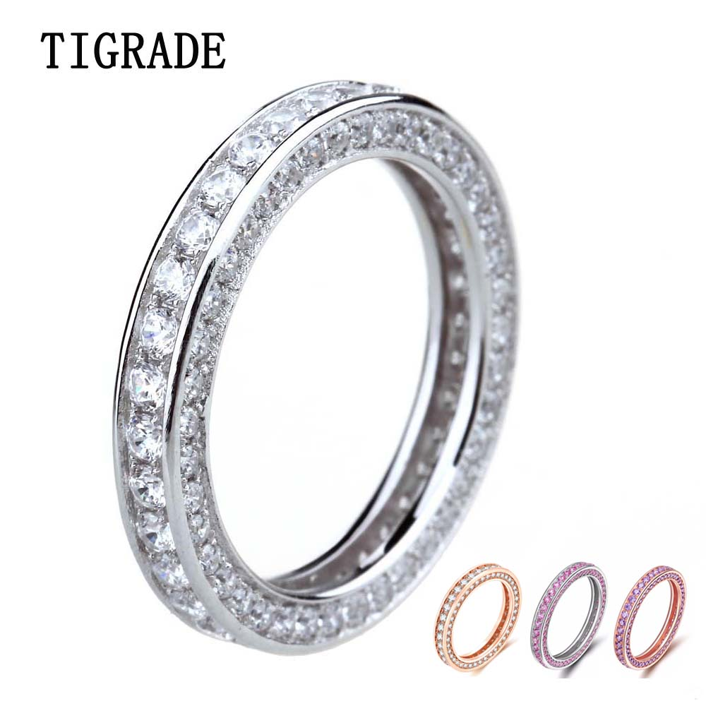 Tigrade Dame 925 Sterling sølvring Cubic Zirconia For Female Wedding Engagement Band Girls Ring Anillo Plata Mujer Bague