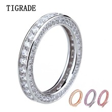 100% 925 Sterling Silver Ring Women 2016 Wholesale Wedding Band Jewelry Eternity 4-11