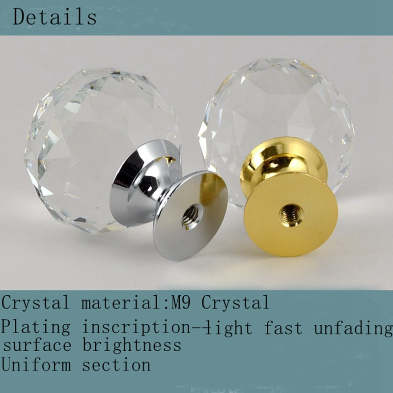 1pcs Crystal M9 glass dril Kitchen Drawer Cabinet Door Handle Furniture Knobs Hardware Cupboard Antique Brass Shell Pull Handles in Cabinet Pulls from Home Improvement