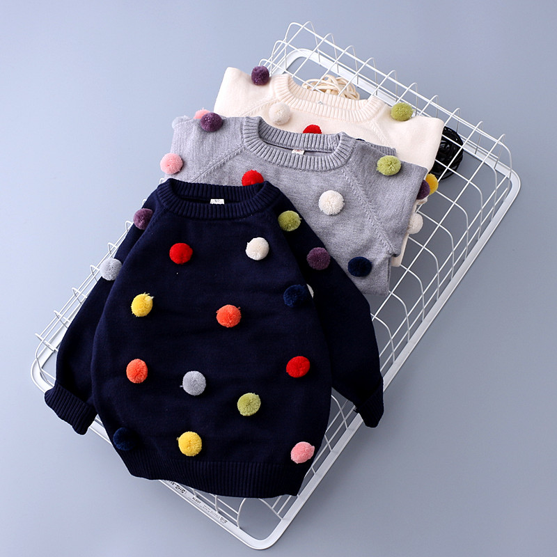 Retail new autumn winter baby toddler girls boys fashion pom pom sweater kids pompom soft Cashmere sweaters baby girl clothes