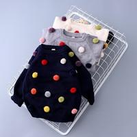Retail New Autumn Winter Baby Toddler Girls Boys Fashion Pom Pom Sweater Kids Pompom Soft Cashmere