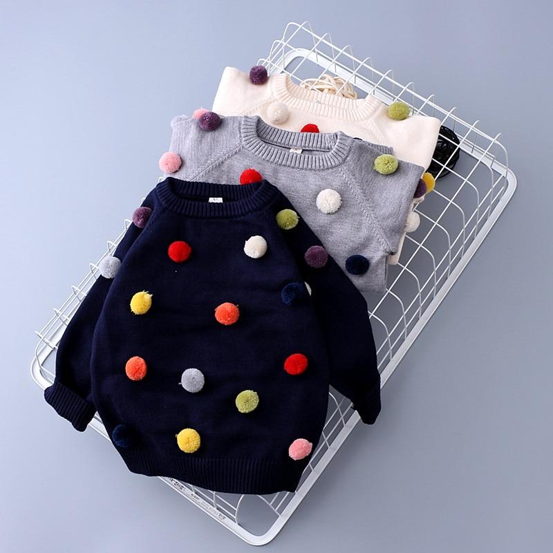 Retail new autumn winter baby toddler girls boys fashion pom pom sweater kids pompom soft Cashmere sweaters baby girl clothes цена
