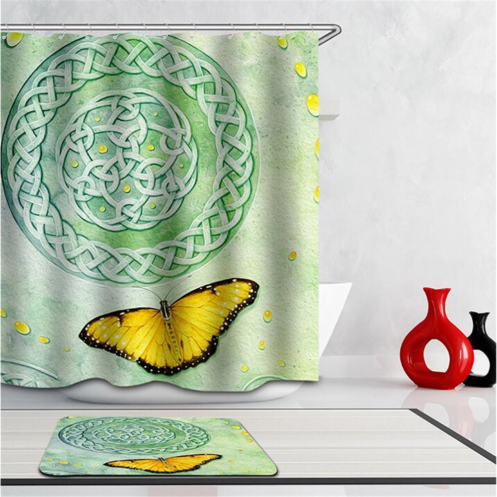 high quality cartoon printed polyester butterfly bird waterproof home bathroom curtains 3d peacock shower curtain