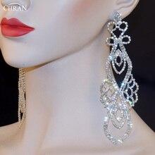 """Chran Nupcial De Lujo del Tono De Plata Con Cristal Rhinestone Del Banquete de Boda de Cristal Earing Cuelga 6 """"Chandelier Pendientes de Gota de la Joyería"""