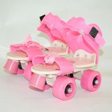 New Children Two Line Roller Skates Double Row 4 Wheel Skating Shoes Free Size Sliding Slalom Inline Skates Gifts For Kids IB02