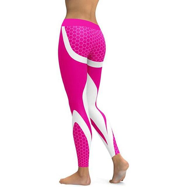 Hayoha Mesh Pattern Print Leggings fitness Leggings For Women Sporting Workout Leggins Elastic Slim Black White Pants 3