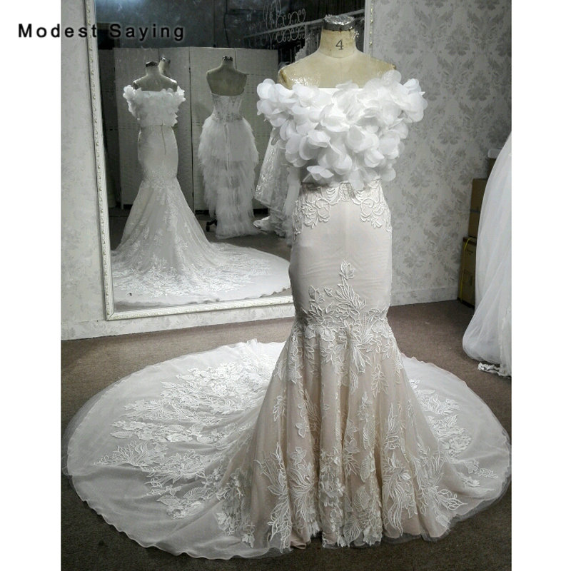 New Fashion Ivory Mermaid Sweetheart Lace Wedding Dresses 2018 With Flowers Boleros Jackets Formal Bridal Gowns With Nude Lining