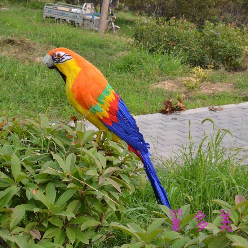 Grand modèle fait main de perroquet de plumes colorées de 60 cm, polyéthylène et plumes décoration de salle de perroquet jouet cadeau de noël w3972