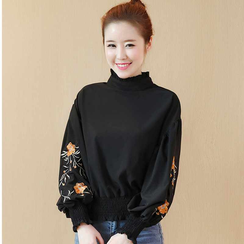 Elegant Long Sleeve Tops 2017 Floral Embroidery Lantern Sleeve Shirt Women Blouse Elastic Waisted Pullovers High Neck Blouses Chemisier