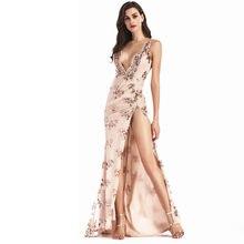 ebb7ccef5 Evening party Club vestido elegante mujeres vestidos de festa vestido de mujer  atractivo oro sequined Maxi largo del vestido de .
