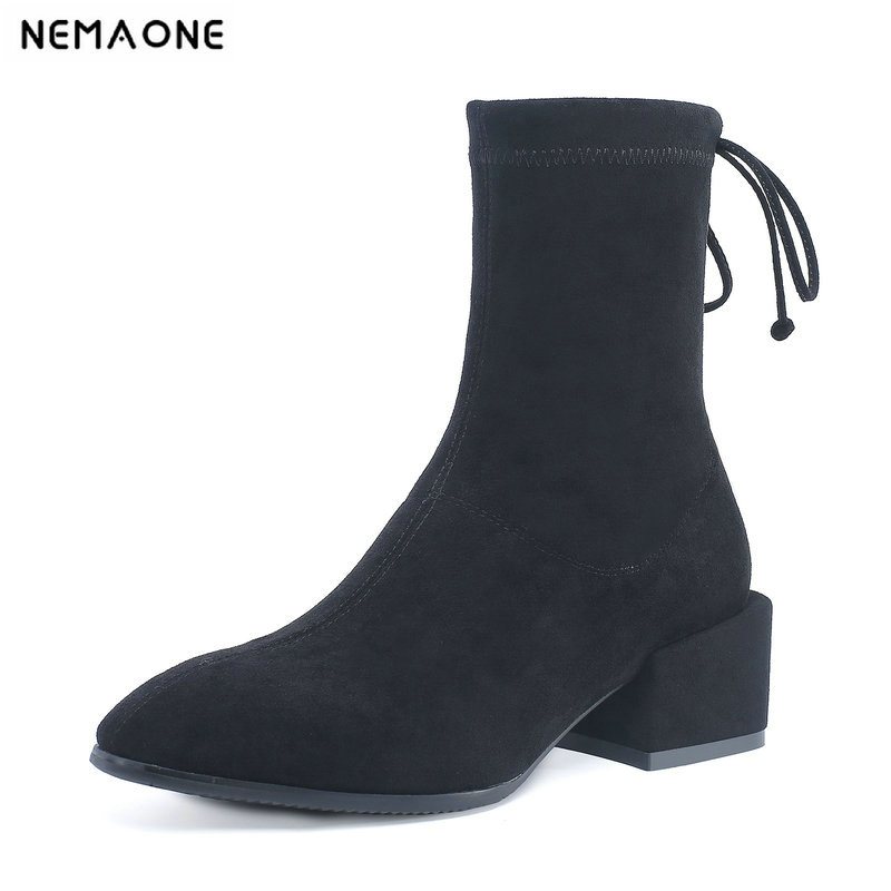 NemaoNe Ankle Boots Women Top Quality Brand Genuine Leather Cow Suede square Toe lace up High Heel Shoes Handmade стоимость