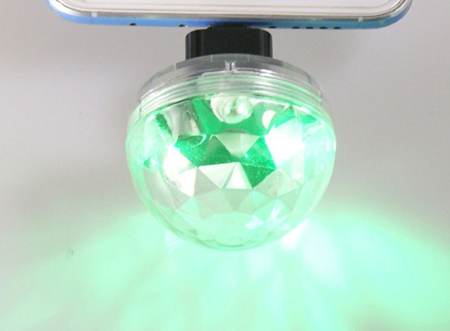 Mobile Phone Light Ball Sound Control Crystal LED Mini Disco Portable Party Lamp Stage Bar Voice Activated USB 5