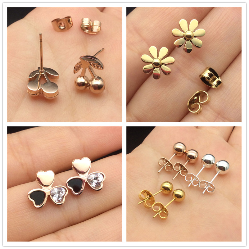 Rose Gold Stud Earrings18k Plated Cubic Zircon Small Flower Clover Stainless Steel Earrings Sets lots For Womens wholesale Top