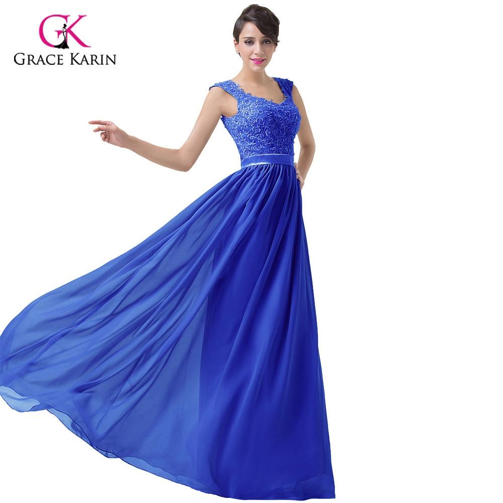 Chiffon Long Evening Dresses Grace Karin Lace Grey 2018 New Arrival ...