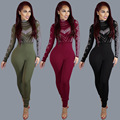 Winter Fashion Sexy Elegant Bodycon Jumpsuit Romper Long Sleeve Round Neck Women Overalls Balck Red Fitness Bodysuit Playsuit