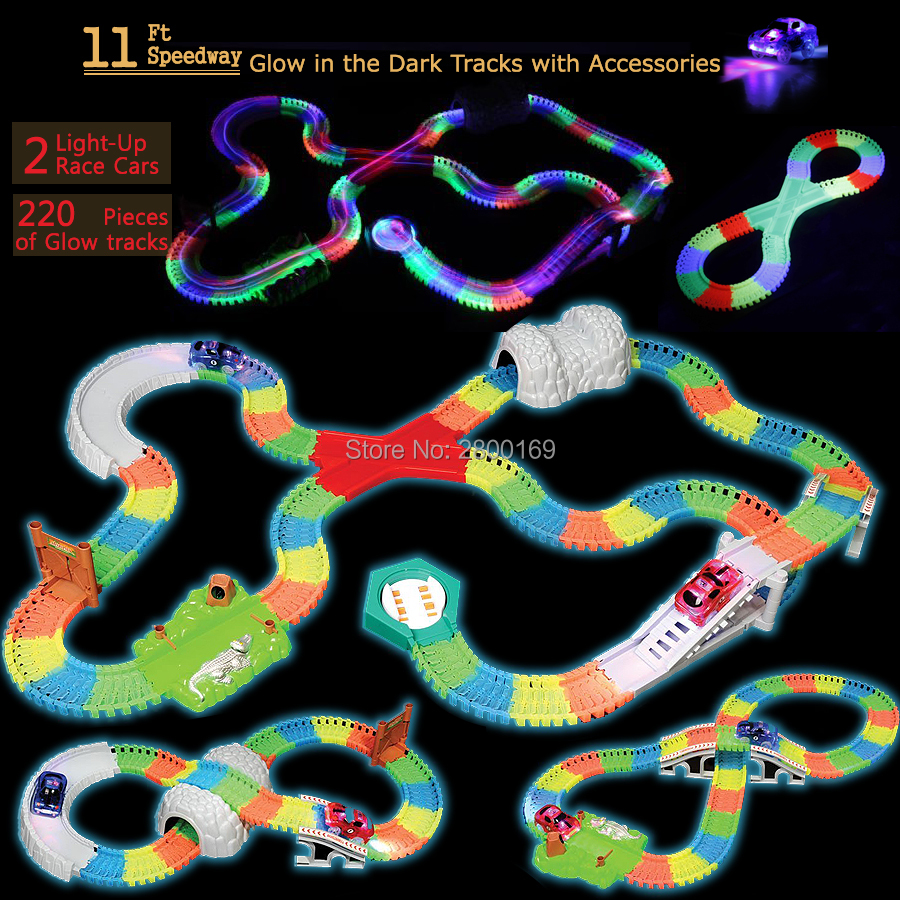 DIY Slot Assembly Race Track Complete Set OVER 220 Pieces of Bend,Flexible Glow in the Dark Tracks with 2 Cars and Accessories