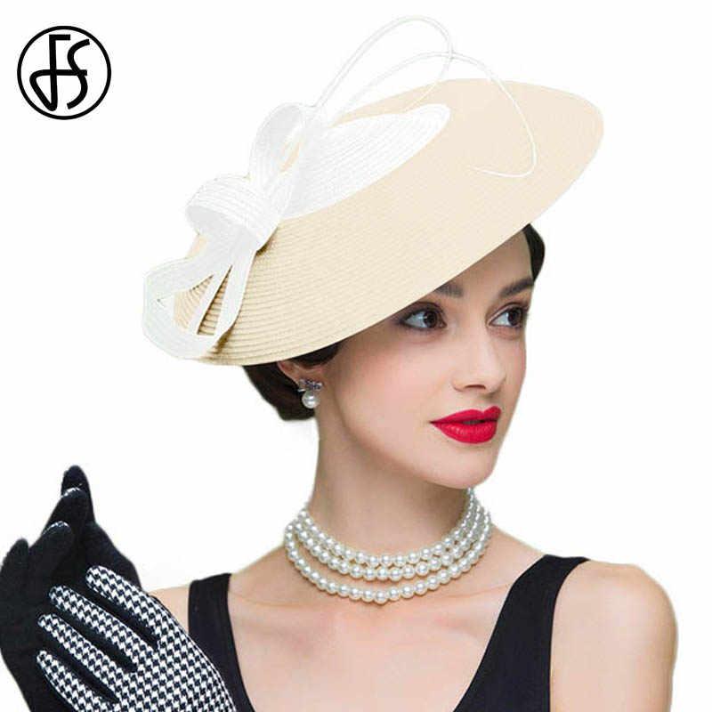 ... FS Fascinators Black And White Weddings Pillbox Hat For Women Straw Fedora  Vintage Ladies Church Dress ... 5b5313a6210