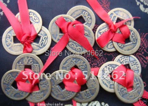 12 Pcs Trois Chinesische Munzen Glucksbringer Feng Shui Rouge