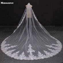 Echte Foto 4 Meter Lange Volledige Rand Kant Wedding Veil Een Layer Wit Ivoor Tule Bruidssluier Met Kam Veu de Noiva Longo