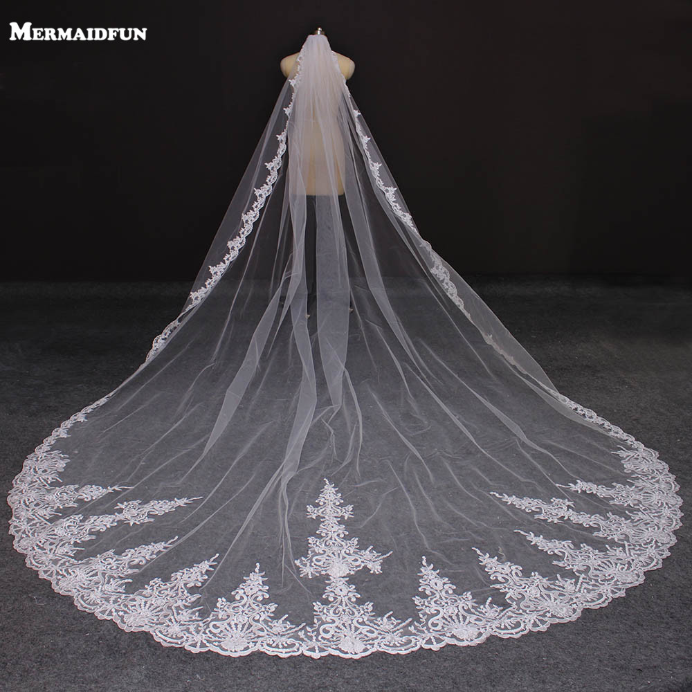 Real Photos 4 Meters Long Full Edge Lace Wedding Veil One Layer White Ivory Tulle Bridal Veil with Comb Veu de Noiva Longo