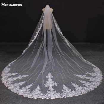 Real Photos 4 Meters Long Full Edge Lace Wedding Veil One Layer White Ivory Tulle Bridal Veil with Comb Veu de Noiva Longo - DISCOUNT ITEM  30% OFF All Category