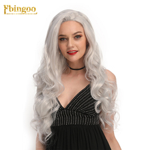 ★  Ebingoo Hair Cap+Free Part Natural Long Deep Wave Silver Grey Synthetic Lace Front Wigs for Women High Temperature Fiber 26 Inch