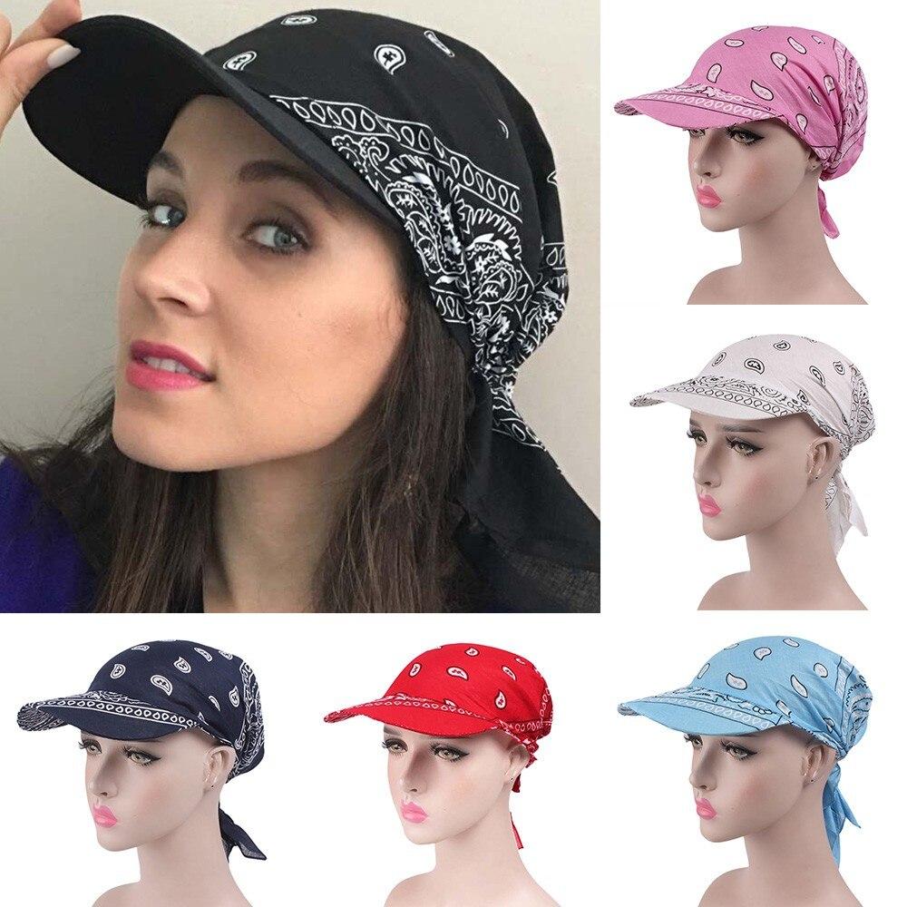 Women India Muslim Retro Floral Cotton Towel Cap Brim Turban Baseball Hat Wrap