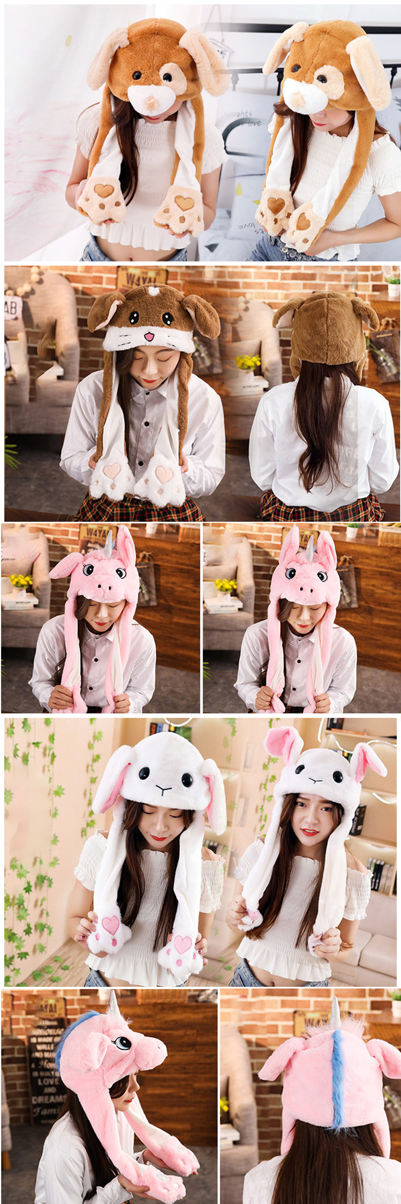2019 Hot Sell Fashion Moving Hat Rabbit Ears Plush Sweet Cute Airbag Cap 2 Color Can Be Choose Fashionable And Attractive Packages Girl's Accessories