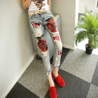 KL1210 Pencil Pants Women Denim Hole Stretch Cotton Ripped Jeans Female High End Red Rose Sequin