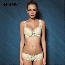 TAINY 2017 Sexy Lingerie Women Push Up Lace Bow Embroidery Mediation Underwear Bra Brief Sets