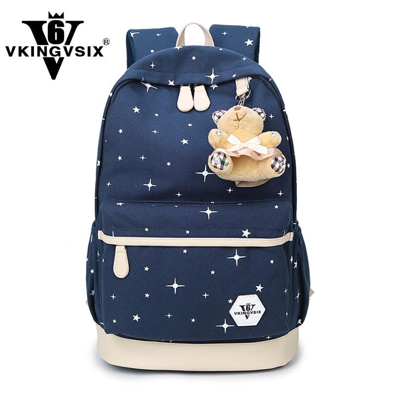ФОТО 2017 Women Backpack For Teenage Girls School Bags Rucksack Back Pack Canvas Cute Stars Printing Backpack Animal Zipper &42