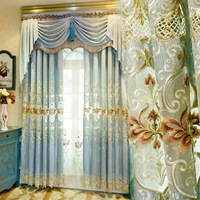 European Curtain New Blue Curtains for Bedroom Embroidered Curtains Valance Luxury Curtains for Living Room
