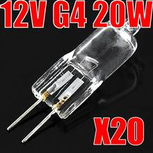 20 pçs/lote Ultra Bright 12 v 20 w JC g4 lâmpada halógena Tipo G4 12V 20W lâmpada inserido contas lâmpada de cristal lâmpada de halogéneo