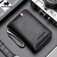 BISON DENIM Genuine Leather Key Wallet Male Card Keychain Cover Zipper Card Holder Wallet Key Organizer Large Capacity N9462