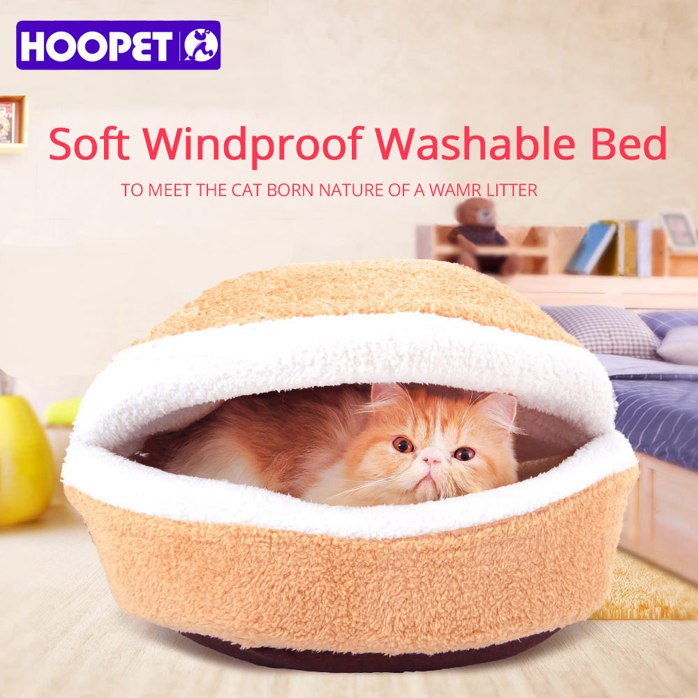 HOOPET Warm Cat Bed House Hamburger Bed Disassemblability Windproof Pet Puppy Nest Shell Hiding Burger Bun for Winter