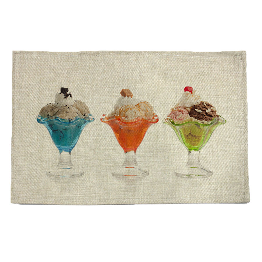 cup ice cream pattern print linen placemat coasters disc pads bowl pad pot dining table mat coster heat insulation pad