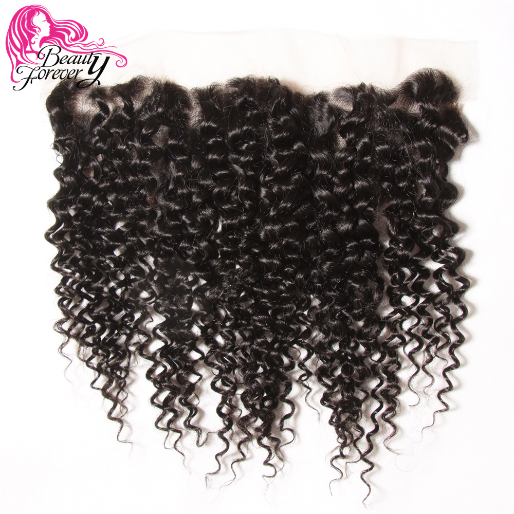 Beauty Forever Brazilian Curly Hair Lace Frontal Closure 13*4 Free Part Ear to Ear Remy Human Hair Closures Natural Color-in Closures from Hair Extensions & Wigs    1
