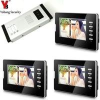 YobangSecurity 7 Apartment Video Intercom Door Phone Doorbell System IR Camera Touch Key For 3 Families