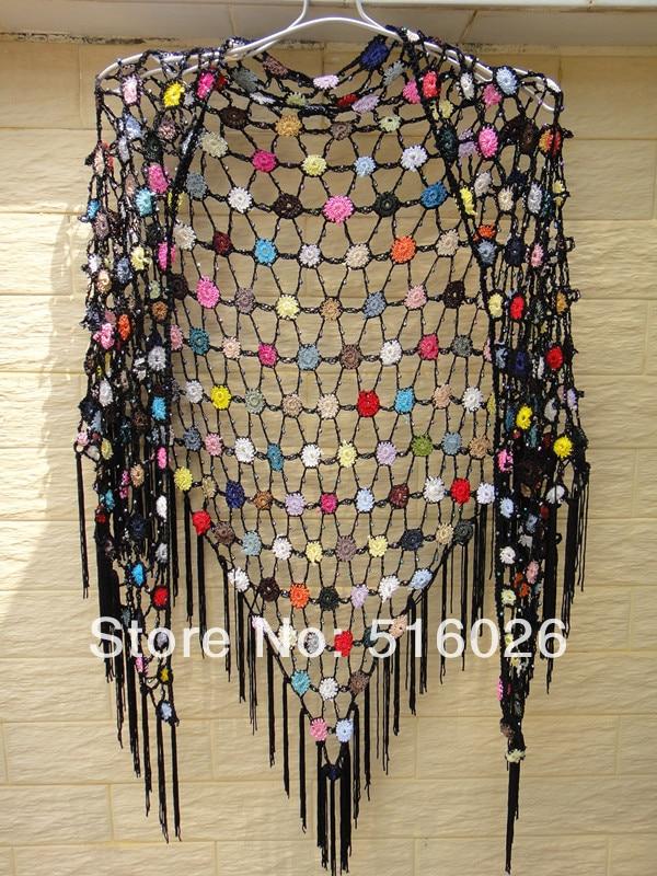 Black Fringed Beaded Triangle Shawl Polka Dot Lace Crochet