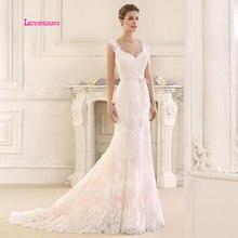 LEIYINXIANG Mermaid Boho Wedding Dress 2019 V Neck Appliques Lace Chiffon Sexy Gowns Backless Bride vestido novia