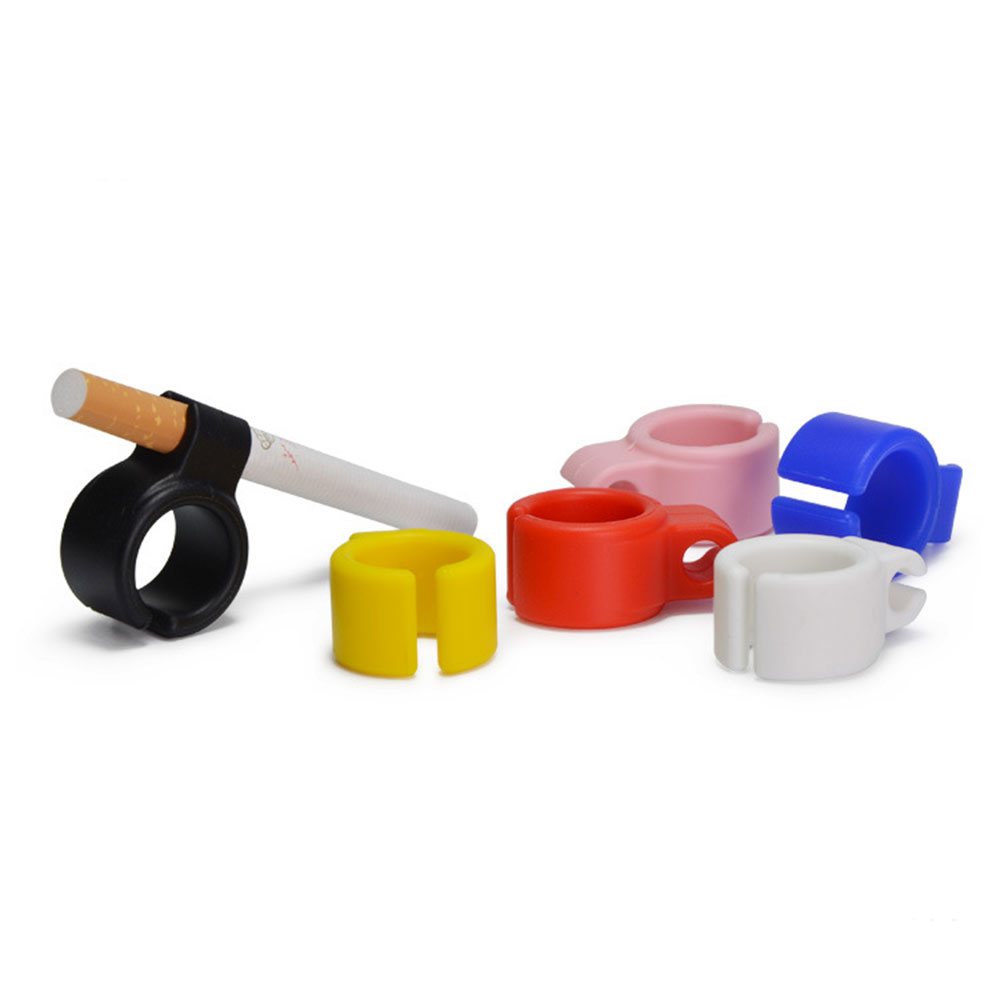 10pcs/set Silicone Finger Hand Rack Holder Resin Ring for Regular Smoking Accessories for Man Red/Blue/Black/White/Pink/Yellow